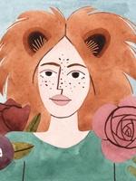 Ilustração de uma personagem representando o signo de Leão. Vestida com camisa na cor verde escuro, a personagem possui forma humana,  enquadramento de busto e está posicionada de frente. Os cabelos laranjas com silhueta de juba, e orelhas de leão. O fundo da imagem é azul claro, acompanhado por algumas flores nas cores vermelho e rosa.