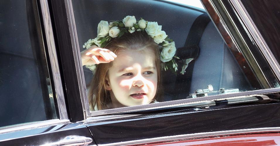 princesa Charlotte chega para o casamento