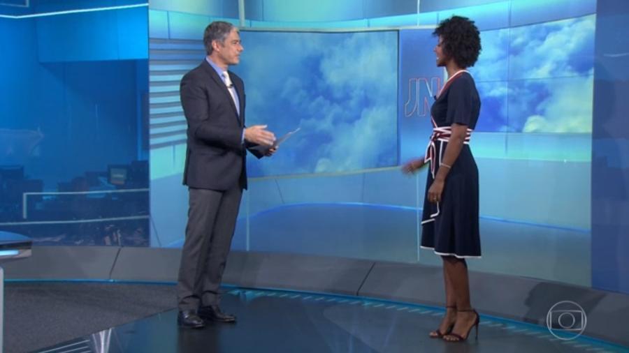 Maju encontra Bonner (pela 2ª vez) e ensina previsão do tempo em russo - Reprodução/TV Globo