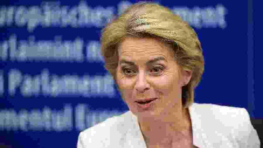 Ursula von der Leyen, após a votação em Estrasburgo, no dia 16 de julho  - Frederick Florin/AFP