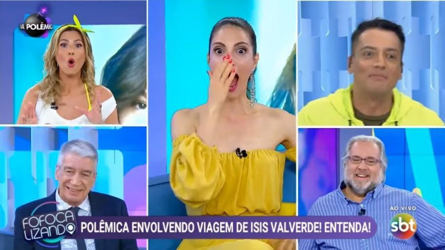 """Lívia Andrade """"incendeia"""" discussão entre Leão Lobo e Leo Dias no """"Fofocalizando"""" - Reprodução/SBT"""