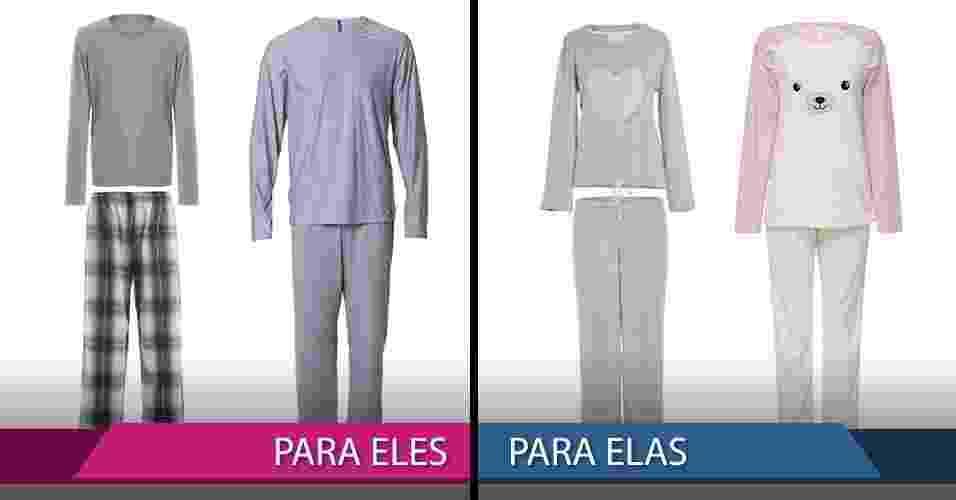 Pijamas de inverno masculino e feminino - Divulgação/MontagemUOL