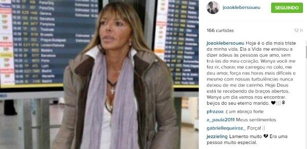 Apresentador João Kleber faz homenagem à ex-mulher, Wânia Barros, após a morte dela