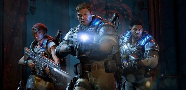 """JD Fenix (centro) lidera a nova geração de """"Gears of War"""" - Divulgação"""