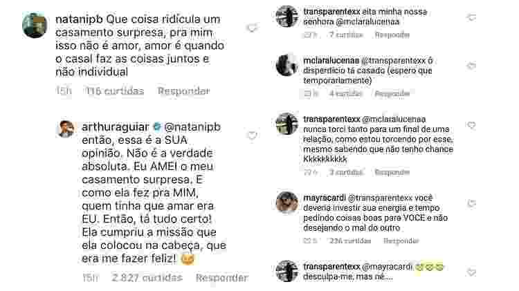 Arthur Aguiar e Mayra Cardi rebatem críticas sobre casamento - Montagem/Reprodução/Instagram - Montagem/Reprodução/Instagram