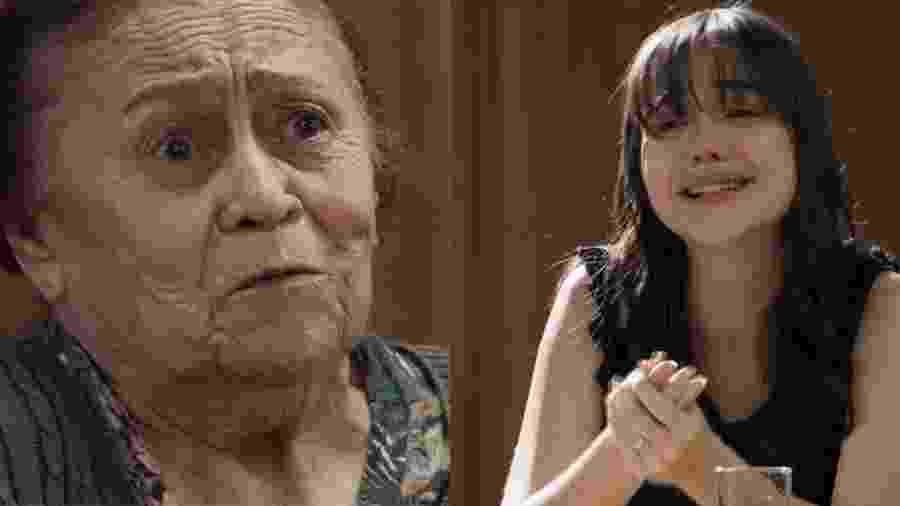 """A atriz Bella Piero, a Laura de """"O Outro Lado do Paraíso"""", se emocionou ao gravar com Ilva Niño uma cena forte no tribunal - Reprodução/Globo"""