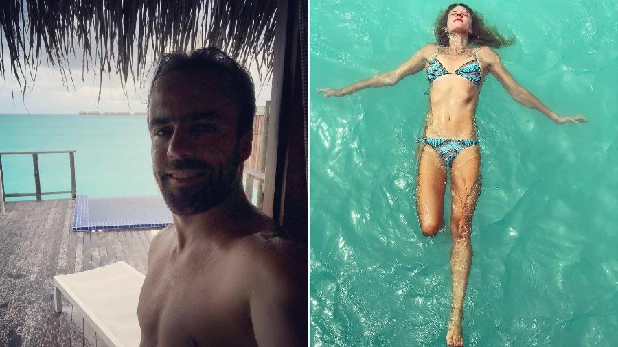 Roger Flores e a namorada, Betina Schmidt, curtem férias nas Maldivas - Montagem/UOL/Reprodução/Instagram