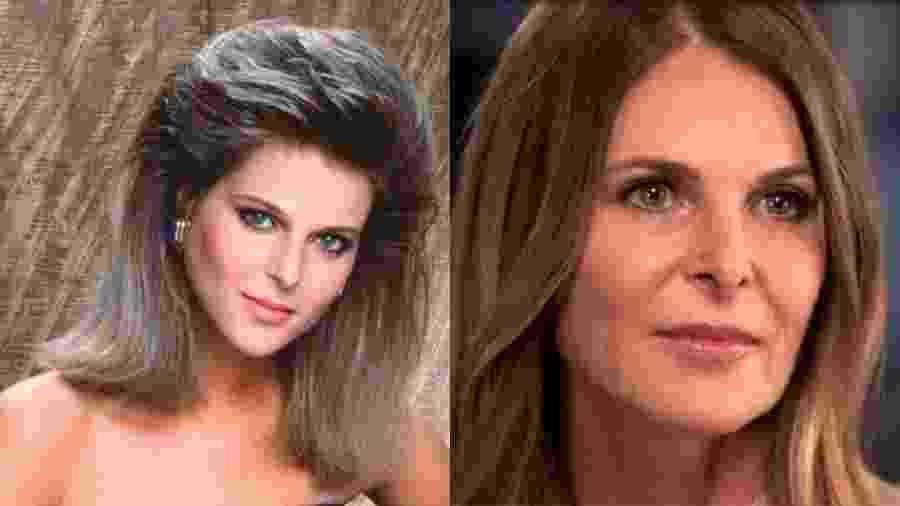 """Catherine Oxenberg em """"Dinastia"""", em 1981, e em entrevista à emissora NBC, neste ano - Divulgação"""