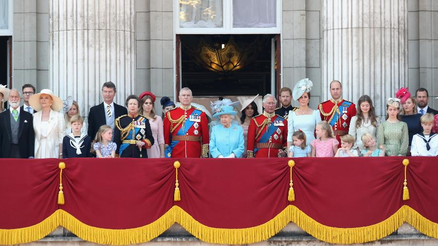 A família real durante o Trooping The Colour, em junho  - Getty Images