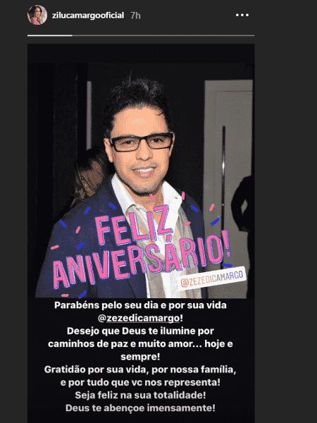 Zilu parabeniza o ex-marido Zezé Di Camargo - Reprodução