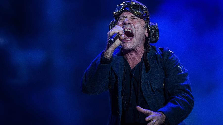 Bruce Dickinson, vocalista do Iron Maiden, no Rock in Rio - Eduardo Anizelli/Folhapress