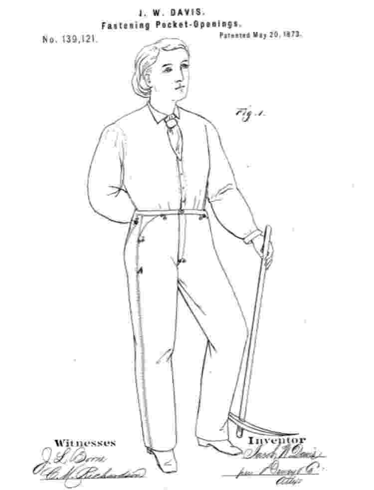 Ilustração enviada por Jacob Davis para patentear o uso de rebite em calças jeans; recurso já era utilizado anteriormente em sapatos - Reprodução/Arquivo de Patentes dos Estados Unidos - Reprodução/Arquivo de Patentes dos Estados Unidos
