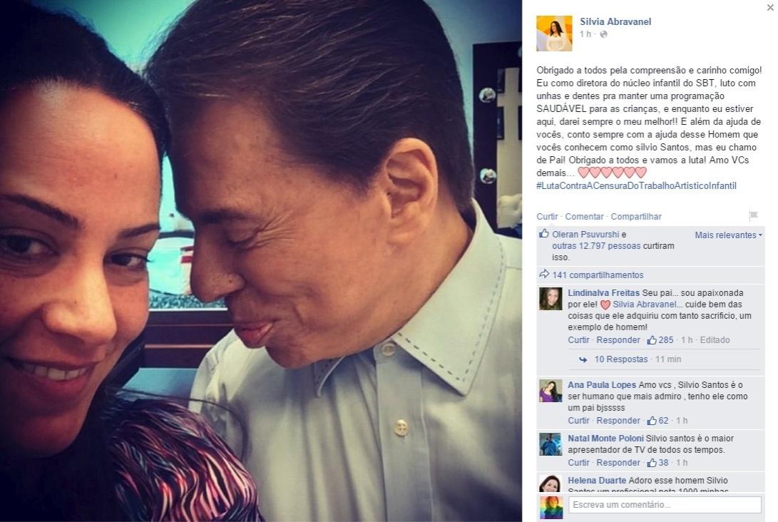 17.jul.2015 - Silvia Abravanel agradeceu em seu Facebook pelo apoio que tem recebido do público e de seu pai, Silvio Santos, neste período em que está à frente do infantil do SBT
