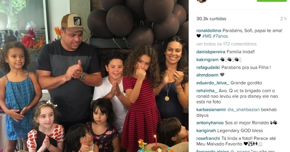 17.dez.2015 - Ronaldo fez uma festa para comemorar o aniversário da filha, Maria Sofia, que completou 7 anos. Em seu perfil no Instagram, o ex-jogador publicou uma foto do evento, que aconteceu na noite de quinta-feira (17).