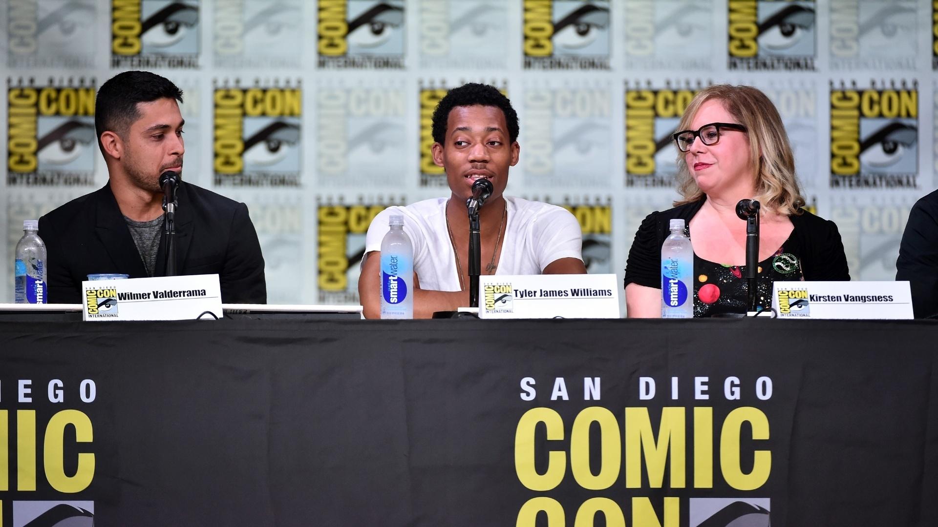 21.jul.2016 - Os atores Wilmer Valderrama, Tyler James Williams e Kirsten Vangsness no mesmo painel