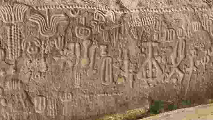 A Pedra do Ingá, monumento arqueológico localizado no estado da Paraíba - Reprodução - Reprodução