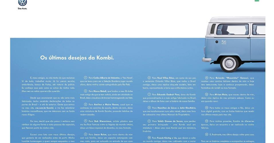 Anúncio Volkswagen Kombi 2013