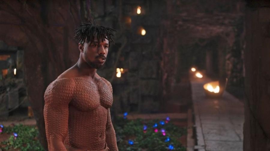 """Michael B. Jordan no papel do vilão Erik Killmonger, do filme """"Pantera Negra"""" - Divulgação/Marvel"""