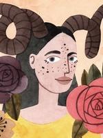 Ilustração de uma personagem representando o signo de Áries. Vestida com camisa na cor amarela, a personagem possui forma humana, enquadramento de busto e está posicionada de frente. Na cabeça, por cima dos cabelos longos e pretos, dois chifres grandes em formato de espiral. O fundo da imagem é laranja claro, acompanhado por algumas flores nas cores roxo, vermelho e bege.