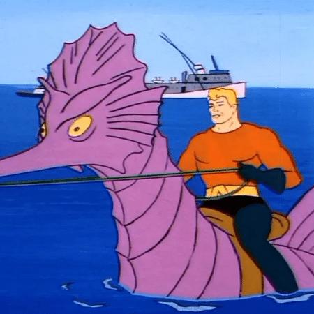 """Em """"Super Amigos"""", Aquaman usava um cavalo-marinho tosco - Reprodução"""