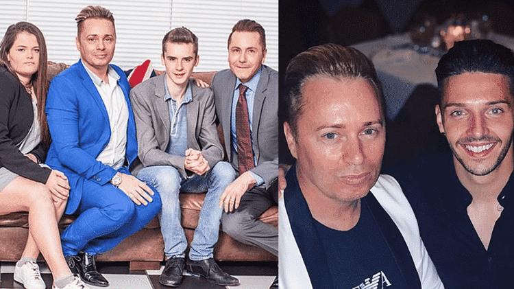 Barrie (de azul) com Tony e os filhos mais velhos, Saffron e Aspen, e em outra foto com o namorado Scott - Reprodução/Daily Mail