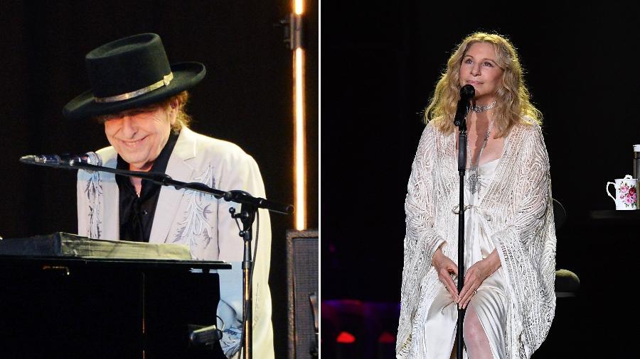 Bob Dylan (à esq.) e Barbra Streisand: vem dueto por aí? - Montagem UOL/Fotos Getty Images