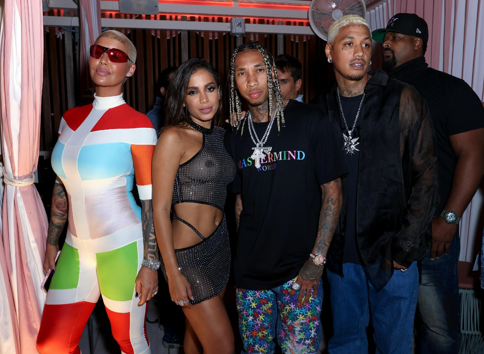 "Amber Rose, Anitta, Tyga and Alexander Edwards no lançamento de ""Girl From Rio"" em Miami -  Alexander Tamargo/Getty Images"