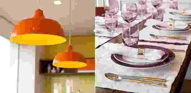 Iluminação se baseia nos spots (Vertz), embutidos no forro, que levam lâmpadas dicróicas. O charme, no entanto, é dado pelos pendentes Pequi nas cores laranja e amarelo, da Bertolucci.  Sobre a mesa, a designer de interiores Adriana Fontana se aproveitou da madeira pata usar lugares americanos de linho e, assim, destacar a louça colorida: delicado, o conjunto de jantar é regido pelo lilás nos detalhes dos pratos e nos copos. - Adriana Barbosa/ Divulgação/ Montagem UOL - Adriana Barbosa/ Divulgação/ Montagem UOL