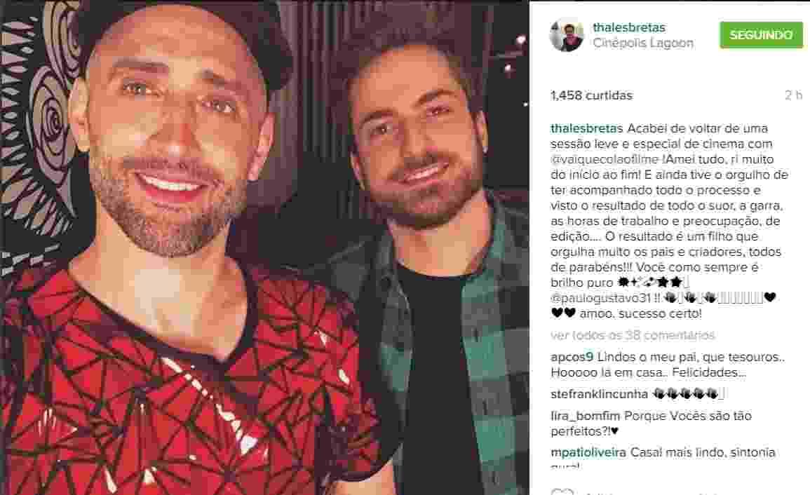 Paulo Gustavo e namorado - Reprodução /Instagram /thalesbretas