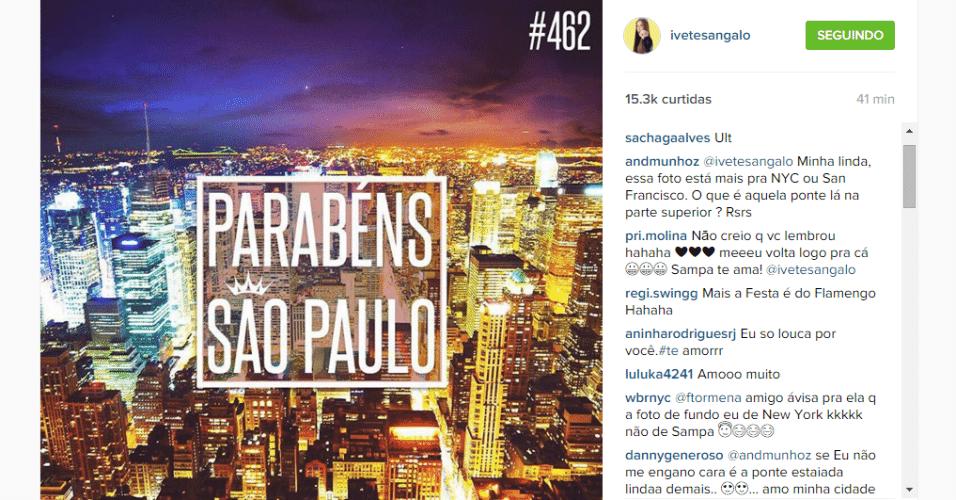 25.jan.2016 - São Paulo ou Nova York? Ivete Sangalo parabenizou São Paulo pelos 462 anos, porém publicou no Instagram uma foto de Nova York (EUA). Os seguidores da cantora não perdoaram a gafe.