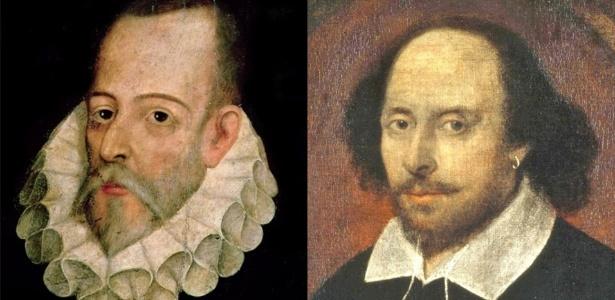 Os escritores Miguel de Cervantes e William Shakespeare - Reprodução