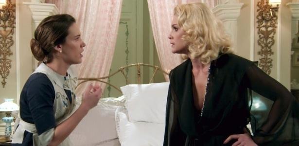 """Maria (Bianca Bin) e Sandra (Flávia Alessandra) trocam ofensas e tapas em """"Êta Mundo Bom"""" - Reprodução/""""Êta Mundo Bom""""/GShow"""