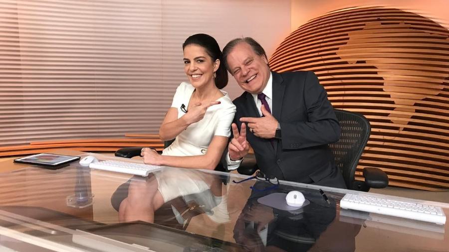 """Mariana Gross com Chico Pinheiro na bancada do """"Bom Dia Brasil"""" - Reprodução/Twitter"""