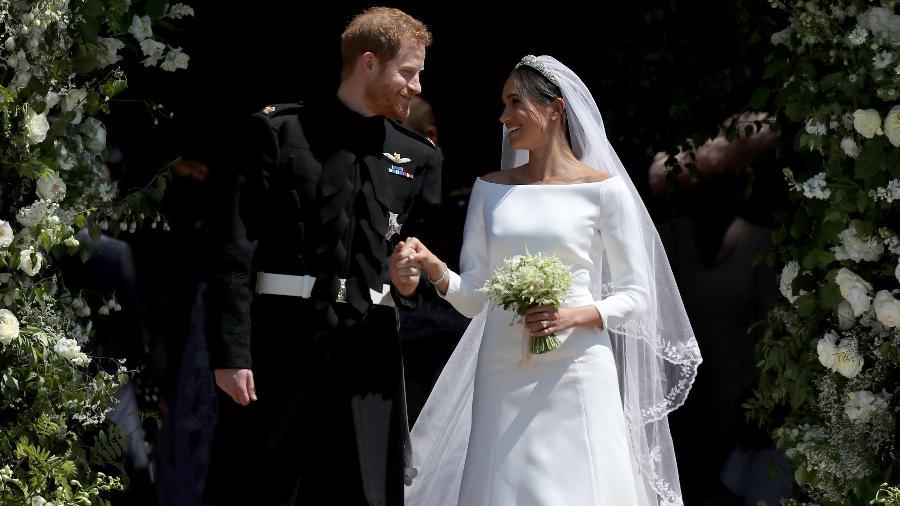 Meghan Markle e Príncipe Harry durante casamento  - Jane Barlow - WPA Pool/Getty Images