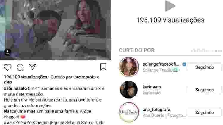 Post do anúncio da chegada de Zoe, filha de Sabrina Sato e Duda Nagle, tem mais de 80 mil curtidas, 196 mil visualizações e 4500 comentários em 10 minutos  - Reprodução/Instagram - Reprodução/Instagram