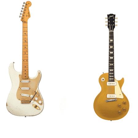 Uma Stratocaster branca e uma Gibson Les Paul de David Gilmour - Divulgação - Divulgação