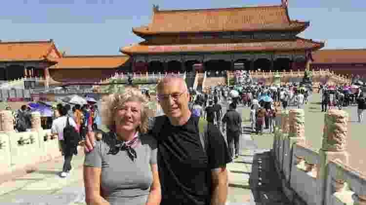 Na China, o casal explorou as paisagens da cidade de Pequim - Arquivo pessoal