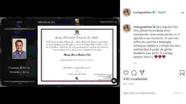 Diplomação de Thammy Miranda - Reprodução/ Instagram @mariagretchen - Reprodução/ Instagram @mariagretchen