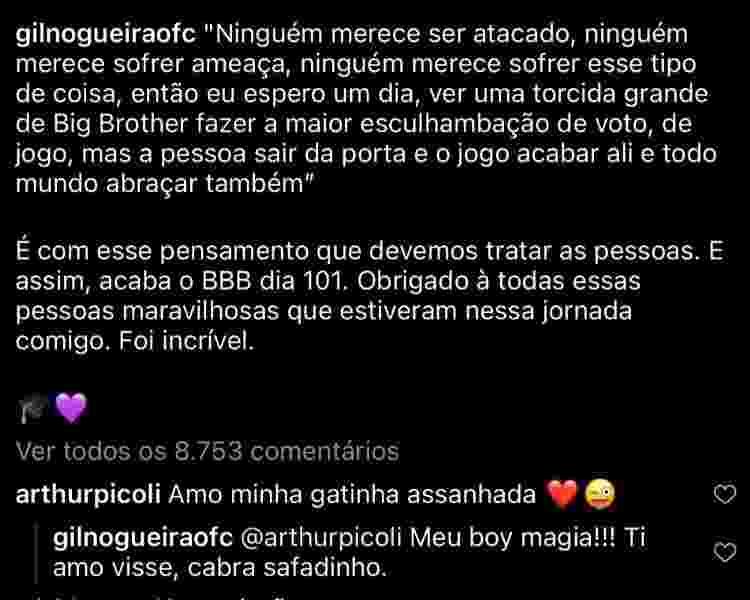 Arthur e Gil trocam flertes nas redes - Reprodução Instagram - Reprodução Instagram