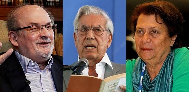 Os escritores Salman Rushdie, Mario Vargas Llosa e Ana Maria Machado - EFE/Folhapress