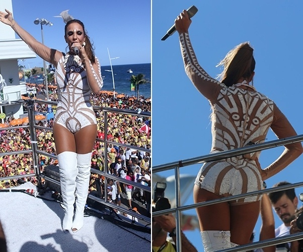 No quarto dia de Carnaval de Salvador, Ivete continuou investindo e uma só peça. Para desfilar pela Barra no sábado (6), Ivete usou um collant branco com botas também brancas