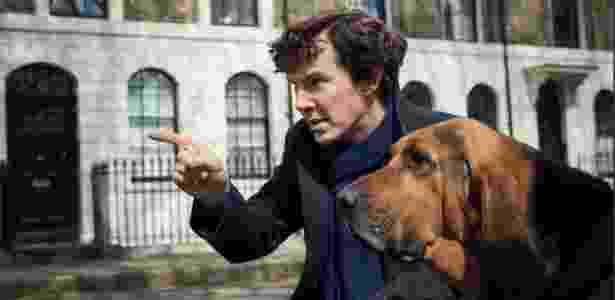 """Cumberbatch contracena com cão em imagem da 4ª temporada de """"Sherlock"""" - Divulgação - Divulgação"""