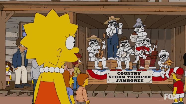 """Episódio de """"Os Simpsons"""" imaginou parque da Disney com banda de stormtroopers  - Reprodução - Reprodução"""