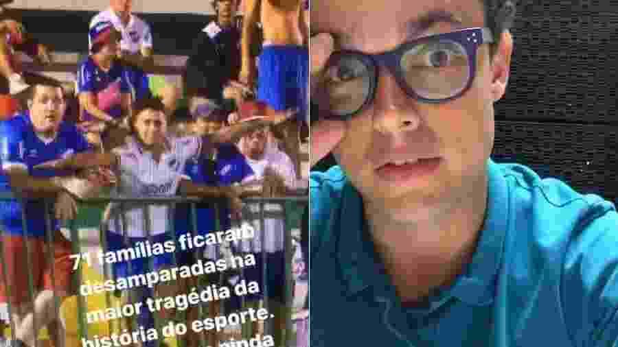 O repórter Pedro Rocha, da Globo, se revoltou com a torcida do Nacional (URU) imitando aviões durante jogo contra a Chapecoense - Montagem/Reprodução/Instagram