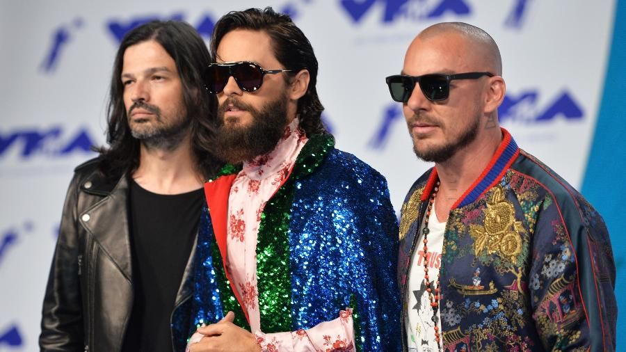 Tomo Milicevic, Jared Leto e Shannon Leto, do 30 Seconds to Mars - Alberto E. Rodriguez/Getty Images
