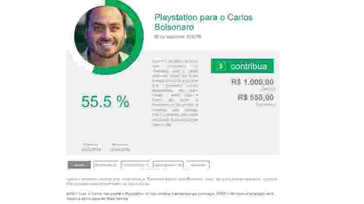 Vakinha Carlos Bolsonaro - Reprodução - Reprodução