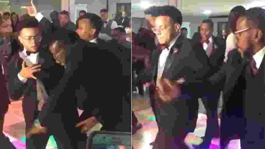 Pai e filho mostraram entrosamento e deram um show na pista de dança do casamento - Reprodução/Twitter