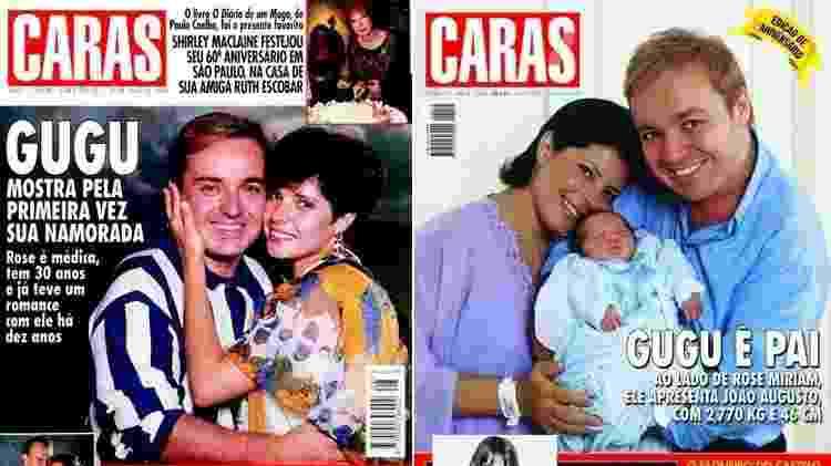 Gugu e Rose estampam capas da revista Caras em 1994 e 2001 - Montagem/UOL/Reprodução/Revista Caras