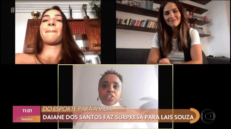 Laís Souza e Daiane dos Santos se reúnem no 'Encontro com Fátima Bernardes' - Reprodução/Globoplay - Reprodução/Globoplay