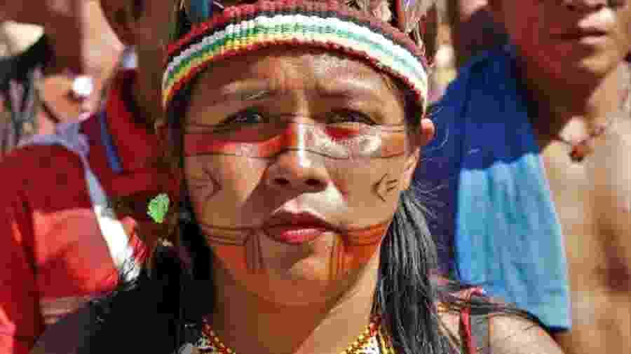 Maisa Guajajara na Marcha das Mulheres Indígenas em Brasília, em agosto em 2019 - Marquinho Mota/Faor